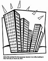 Elevator Coloring Crayola Building York Otis Elisha Passenger sketch template