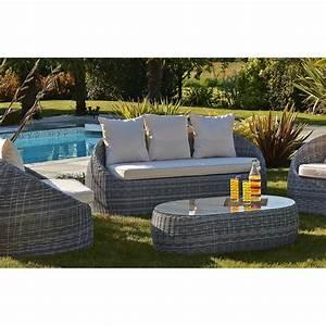 Salon Jardin 2 Places : salon de jardin banquette 3 places 2 fauteuils et 1 table basse le r ve chez vous ~ Melissatoandfro.com Idées de Décoration