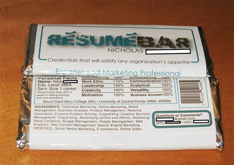 S Bar Resume by Chocolate Bar Resume Takes By