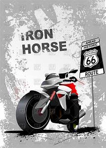 Motorcycle And Road Sign  U0026quot  Route 66 U0026quot  On Grunge Gray