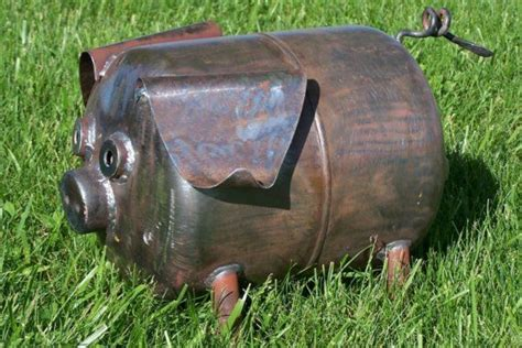 scrap metal art yard garden art pot belly pig