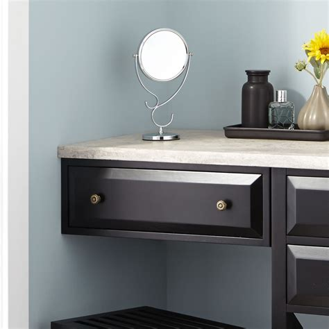 glympton vessel sink vanity  makeup area black