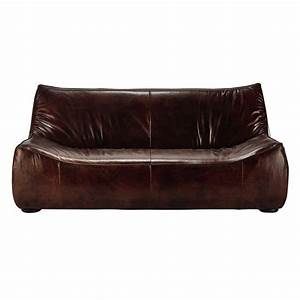 canape 2 3 places en cuir marron george maisons du monde With canapé 3 places cuir marron
