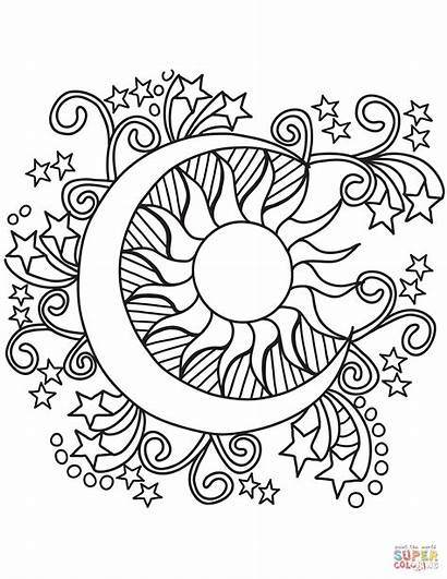 Coloring Moon Sun Pages Stars Pop Printable