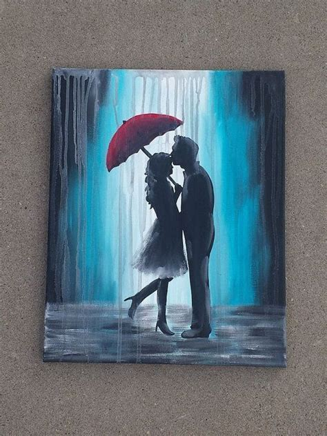 how to paint a l this is a painting of a couple in the rain under a red