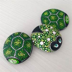 Green, Lucky, Ladybug, On, A, Stone, Dotart, Painted, Ladybug