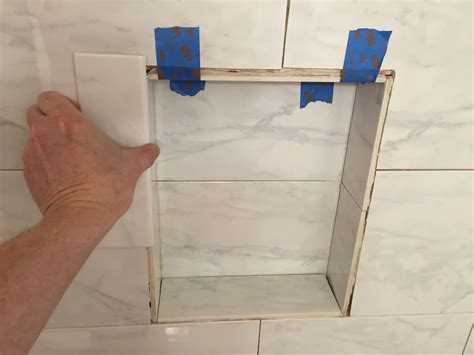 tiled shower shelf ideas can i glue a decorative tile to the existing tile for a