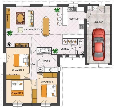 plan maison plain pied 3 chambres garage
