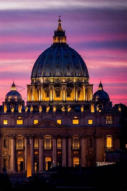 Vatican Rome Basilica Night Italy St Peters