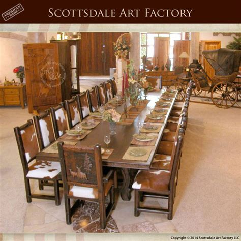custom  pc lodge dining set rustic handcarved table  chairs