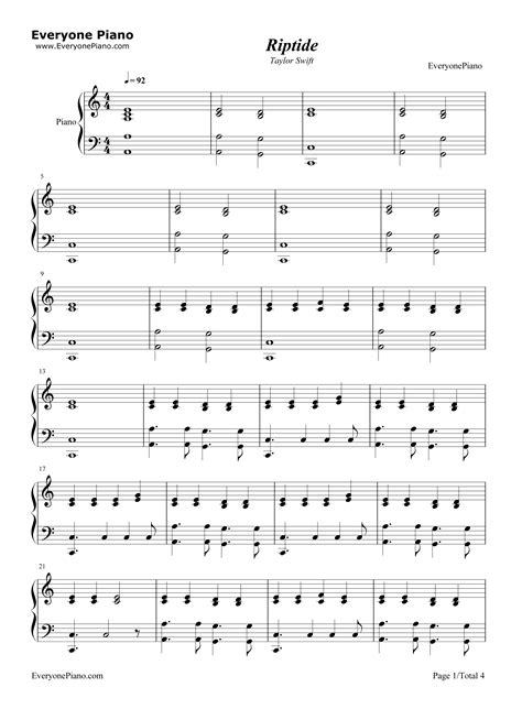 Riptide uke tab by vance joy, song arranged with 4 chords (am,g,c,fmaj7) for the ukulele soprano. Riptide-Taylor Swift Stave Preview