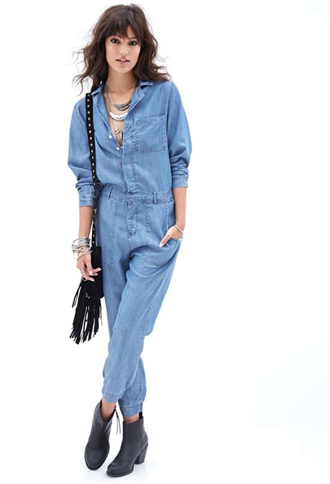 forever 21 denim jumpsuit forever 21 collared denim jumpsuit in blue lyst