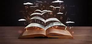 Open Book Glowing Letters Flying Out Stock Photos ...