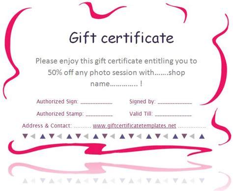 pink border gift certificate template beautiful
