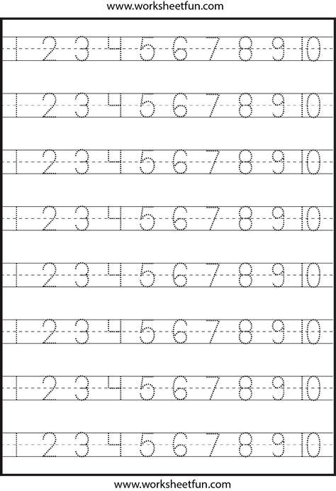 Number Tracing  110  Worksheet  Free Printable Worksheets Worksheetfun