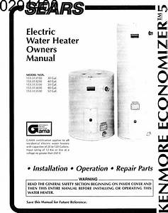 Kenmore 153313130 User Manual Electric Water Heater