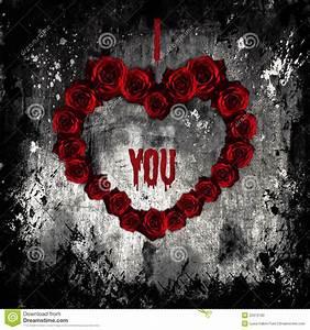 Dark Valentine, Purple Roses In Form Of Heart Stock Photo ...