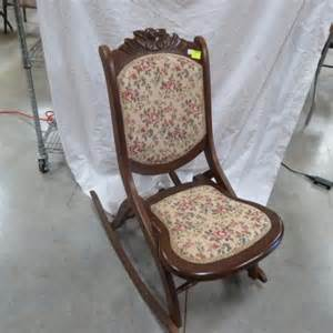vintage folding rocking chair w upholstery 32 5 quot