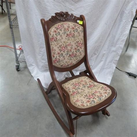 antique folding rocking chair vintage folding rocking chair w upholstery 32 5 quot