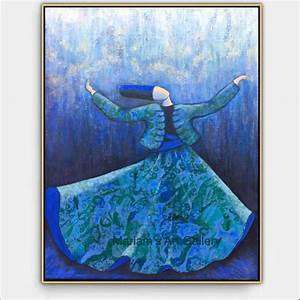 Original, Whirling, Dervish, Painting, Blue, Painting, Islamic