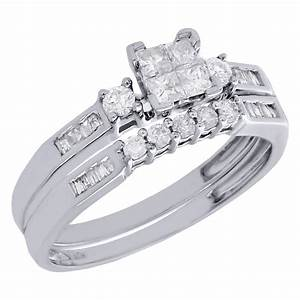 10k womens white gold princess cut diamond engagement for Princess cut engagement rings with wedding band
