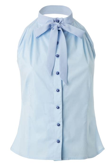 blue blouse gigi sleeveless blouse with georgette bow in light blue