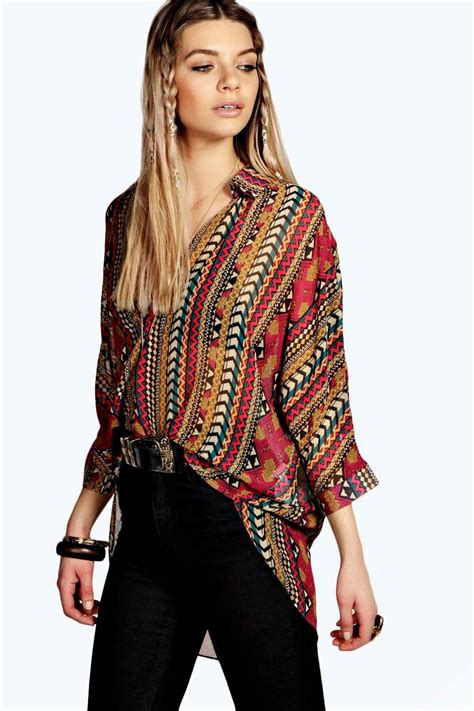 wrap front blouse helena tribal print 3 4 sleeve wrap front blouse at boohoo com