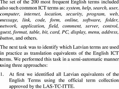 Ict English Latvian Frequently Ten Terms Found