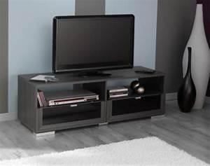 Meuble Tv Hifi : meuble tv knok chene cendre noir ~ Teatrodelosmanantiales.com Idées de Décoration