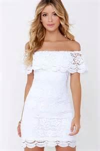 lulus dresses white dress lace dress the shoulder dress 58 00