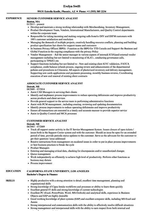 Customer Service Analyst Resume by Customer Service Analyst Resume Sles Velvet