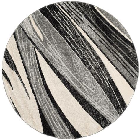 Safavieh Retro Light Gray/Ivory 6 ft. x 6 ft. Round Area