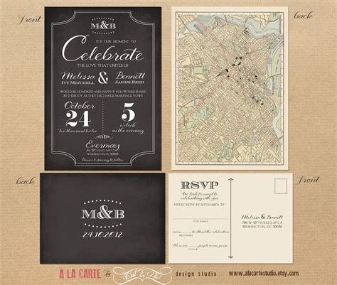Label Style Chalkboard Inspired Wedding Invitation and