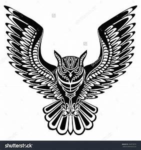 stock-vector-flying-owl-black-silhouette-with-a-pattern-on ...