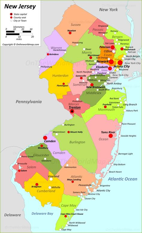 jersey state maps usa maps   jersey nj