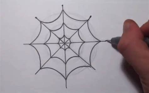 spider web drawing with spider how to draw a simple spider web