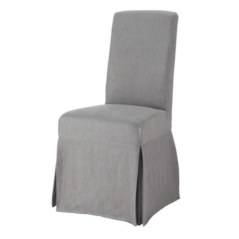 washed linen chair cover in grey margaux maisons du