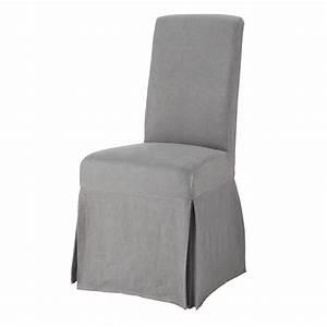 Housse De Chaise Grise : housse longue de chaise en lin lav grise margaux maisons du monde ~ Teatrodelosmanantiales.com Idées de Décoration
