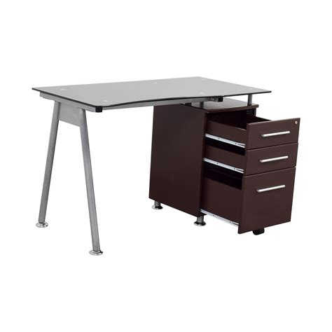Computer Desk With Drawers by 57 Glasstop Computer Desk With Drawers Tables