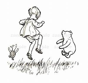 Winnie The Pooh in Black and White Vintage by ...