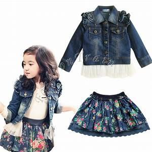 Toddler Girls Kids Top Jean Tulle Coat Jacket Outwear Ruffle Skirt Dress Clothes | eBay