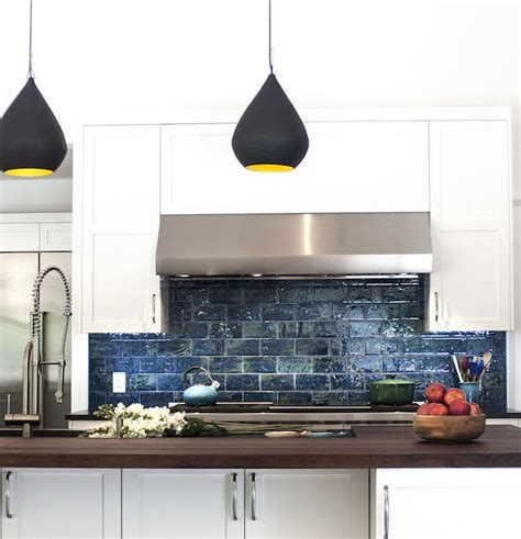 Blue Subway Tiles   Contemporary   kitchen   Smith River