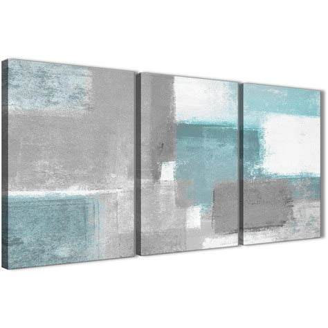 3 panel teal grey painting living room canvas wall decor abstract 3377 126cm set of prints