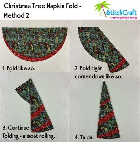 stitchcraft of boca christmas tree napkin tutorial