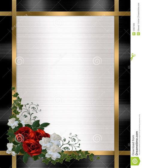 wedding invitation border red roses royalty  stock