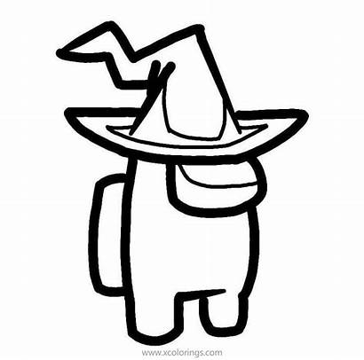 Among Coloring Witch Hat Printable Character Drawing