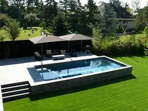 belle piscine ovale beton With terrasse piscine semi enterree 2 piscine exterieur 90 photos et idees inspirantes