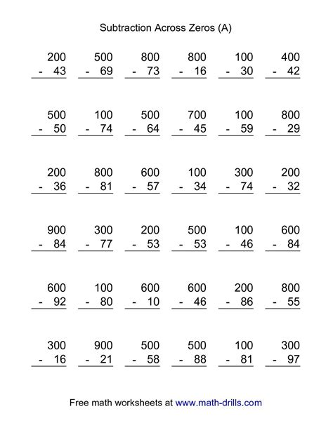 1st grade math worksheet subtraction with regrouping the subtraction across zeros 36 questions a math