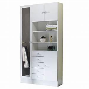 Armoire Porte Miroir : armoire avec miroir 4 portes 5 tiroirs 3 niches ~ Teatrodelosmanantiales.com Idées de Décoration