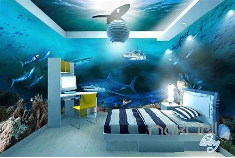 sharks shadow underwater entire room wallpaper wall